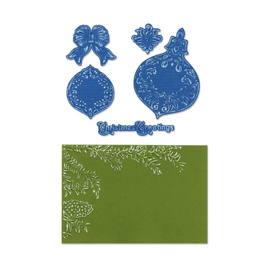 Sizzix 657975 Framelits Die Set with Textured Impressions, Pinecone & Ornament Set by Rachael Bright, Pack of 5, Multicolor
