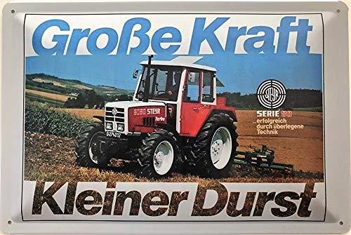 Deko7 Blechschild 30 x 20 cm Traktor- Steyr Große Kraft - Kleiner Durst
