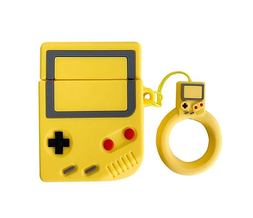 暗黙空小麦LA GO GO AirPodsケース 3Dゲームボーイデザイン 男女用 ソフト シリコンケース 創意 レトロ風 エアーポッズ1/2世代適用カバー スタンド機能 指リング付き イヤホン 保護ケース (Yellow)