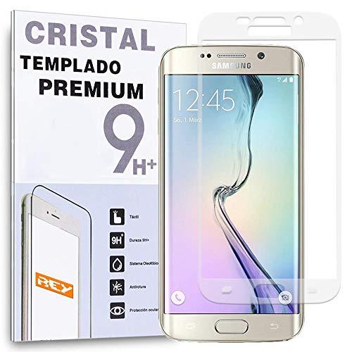 REY Protector de Pantalla para Samsung Galaxy S6 Edge Curvo Blanco Cristal Vidrio Templado Premium