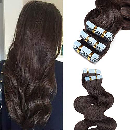 "20 Pcs Extension Adhesive Naturel Rajout Vrai Cheveux Humain Bande Adhesive ondulé (#02 Brun, 22""(55cm))"