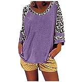 VEMOW Blusas Camisas de Mujer Manga Larga con Cuello Redondo, 2021 Moda Estampado de Leopardo de Camiseta Estilo Informal Blusa de Primavera Otoño Casual Suelta Túnica Tops Sudadera(Azul Oscuro,3XL)