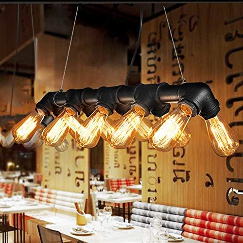 Lightess Suspension Luminaire Industrielle Vintage Rétro Plafonnier Eclairage Suspendu E27 10 Douilles en Métal en Tuyau Abat Jour Edison pour Cuisine Chambre Hôtel Salle à Manger Salon Bar Restaurant