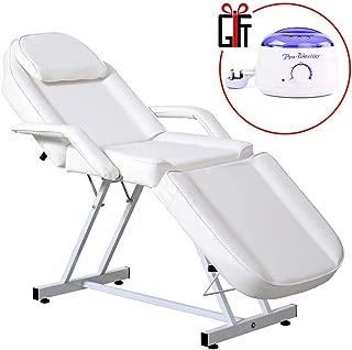 Reclining Salon Spa Beauty Chair Waxing Bed Massage Table Styling Equipment W/Wax Warmer