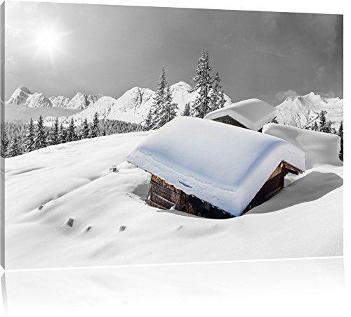 schöne verschneite Berghütten in den Alpen schwarz/weiß Format: 120x80 auf Leinwand, XXL riesige Bilder fertig gerahmt mit Keilrahmen, Kunstdruck auf Wandbild mit Rahmen, günstiger als Gemälde oder Ölbild, kein Poster oder Plakat