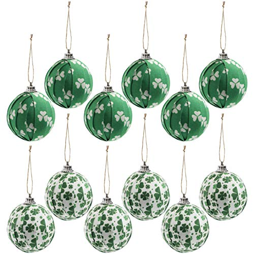 12PCS St Patrick#039s Day Shamrock Hanging Ball Ornament Good Luck Clover Hanging Bauble for Tree Baubles Table Shelf Festival Decorations