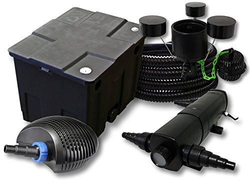 SunSun Kit Filtration de Bassin 12000l avec 36W Stérilisateur CTF Pompe avec 40W 25m Tuyau Skimmer CSP-250