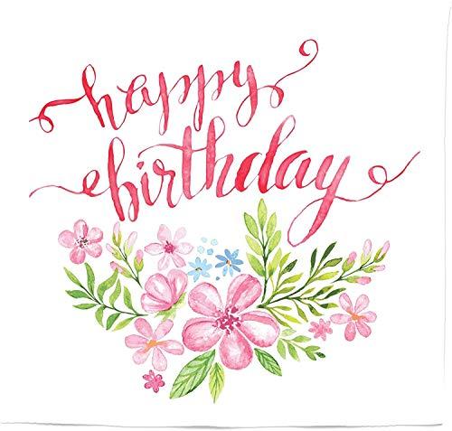 DUTRIX Tapiz de cumpleaños tamaño Queen, Lema de Feliz cumpleaños con Letras a Mano con Flores y Hojas, Colcha para Colgar en la Pared, decoración de la Pared, 88