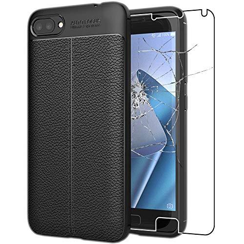 ebestStar - kompatibel mit Asus Zenfone 4 Max Hülle ZC554KL (Pro, Plus) Lederhülle Design TPU Handyhülle Schutzhülle, Flex Silikon Hülle, Schwarz +Panzerglas Schutzfolie [Phone: 154x76.9x8.9mm, 5.5'']