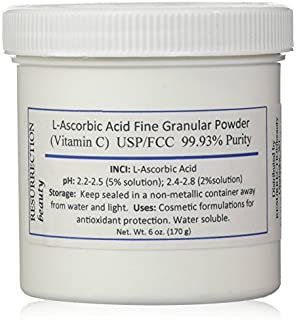 L-Ascorbic Acid Powder (Vitamin C), 6 oz. Jar. For Use in Serums and Cosmetic Formulations.