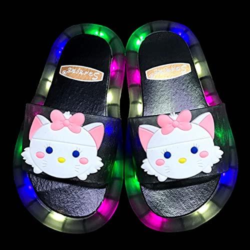 Zuecos Sanitarios Mujer Originales,Zapatillas Luminosas Luminosas para NiñOs, NiñA De Verano Bebé Lindo Princesa Dibujos Animados Gato De Dibujos Animados Sandalias Antideslizantes, Zapatos De Playa