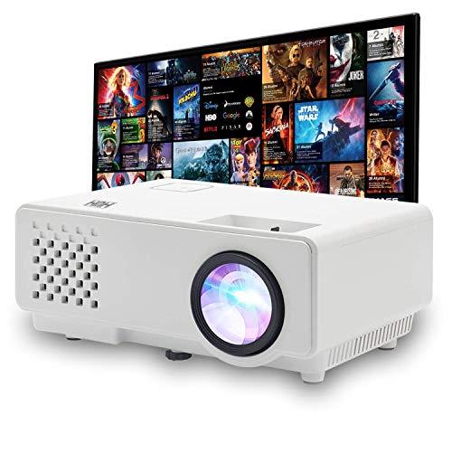 HUH Mini Videoproiettore Portatile WIFI 1000 Lumen Reali Full HD 1080P Compatibilità Dispositivi iOs e Android Display da 120  Proiettore Cinematografico con 50,000 ore Cavo Hdmi USB