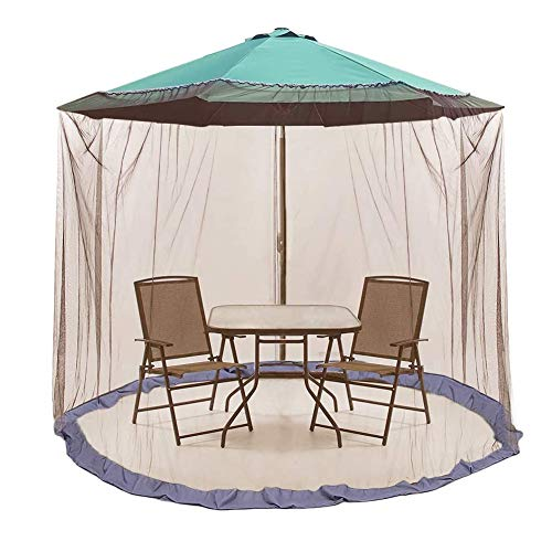 Adjustable 7.5-11ft Outdoor Patio Table Umbrella Mosquito Netting, Double Zipper Doors, Universal Canopy Umbrella Net Cantilever Offset Hanging Market Umbrellas w/ Tilt Screen, Balcony Umbrella Cover