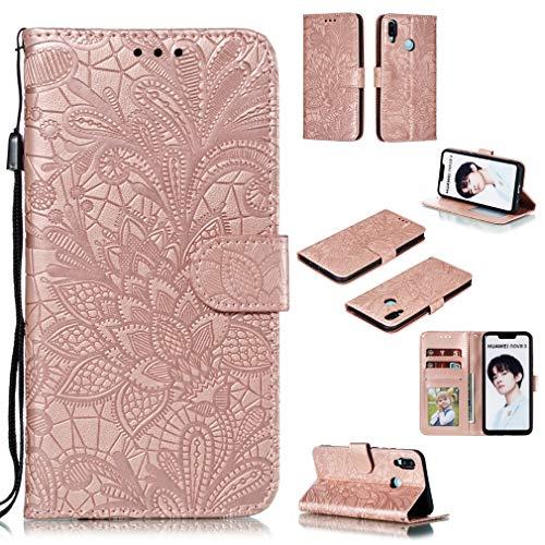 LMFULM® Hülle für Huawei P Smart Plus 2018 / Nova 3i (6,3 Zoll) PU Leder Magnet Brieftasche Lederhülle Handytasche Spitzeblume Standfunktion Ledertasche Flip Cover Rose Gold