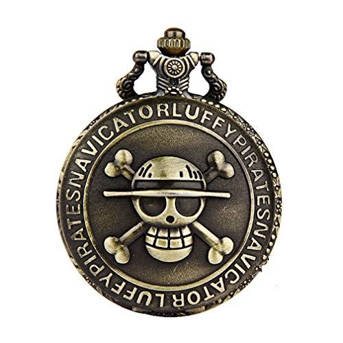 Anime One Piece Skull Luffy Reloj de Bolsillo Grande Ghost Bone