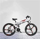 Bicicleta electrica Bici de montaña eléctrica plegable para adultos de 26 pulgadas, batería de litio de 48V, con freno de aceite y sistema de posicionamiento antirrobo GPS, bicicleta eléctrica, 21 vel
