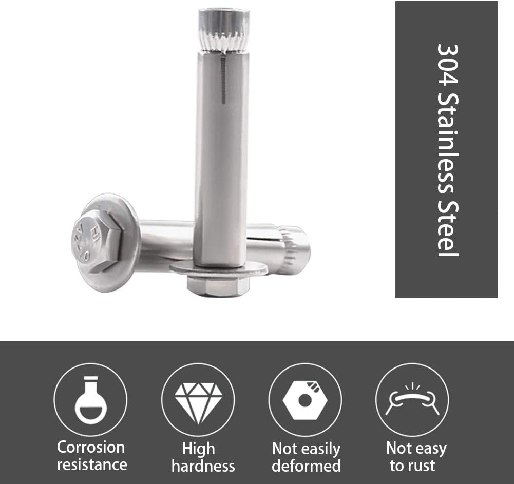 4 Pack M8x60mm 304 Stainless Steel External Hex Nut Expansion Bolt Sleeve Anchor INCREWAY Expansion Bolts