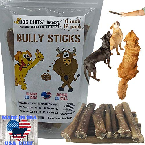 Dog Chits Bully Sticks | 50 Count | 5 inch | Premium Grade | Odorless | All Natural | Grass-Fed | Great for Dogs and Puppies | Long Lasting Chew | Fully Digestible | High Protein