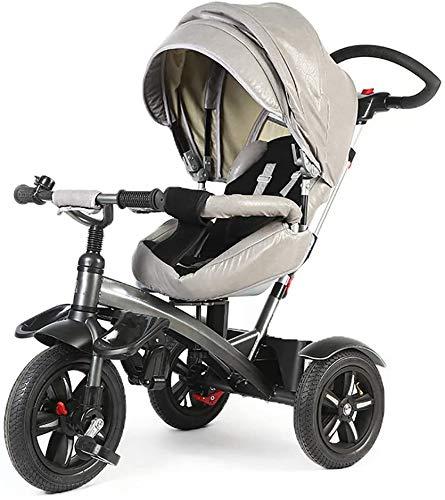 DAGCOT Empujar a mano triciclo for niños, 360 grados de rotación desmontaje de descanso de cochecito for niños de 6 meses a 6 años de edad