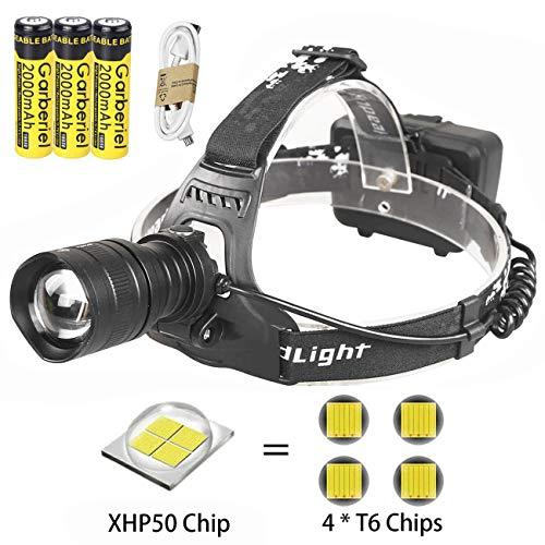 LED Stirnlampe XHP50 Kopflampe Zoombar 5000 Lumen Ultrahohe Helligkeit mit USB 3 Wiederaufladbaren Batterien Wasserdicht, Stirnleuchte für Nacht Angeln Laufen Jagd Lesen Camping Wandern