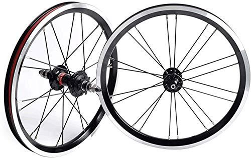 YZU BMX 406 Rim 20 pulgadas bicicleta rueda delantera y trasera plegable rueda de bicicleta con piñón 9T sellado cubo de rodamiento 1210g, negro, 20 pulgadas