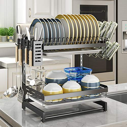 SAYZH 2 Tier Detachable Dish Drying Rack with Drainboard Cup