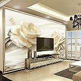 Zybnb Personalizzato 3D Foto Wallpaper Fiore Champagne Rose Modern Romantic Living Room Tv Sfondo Murale Carta Da Parati Non Tessuto Home Decor-400X280Cm