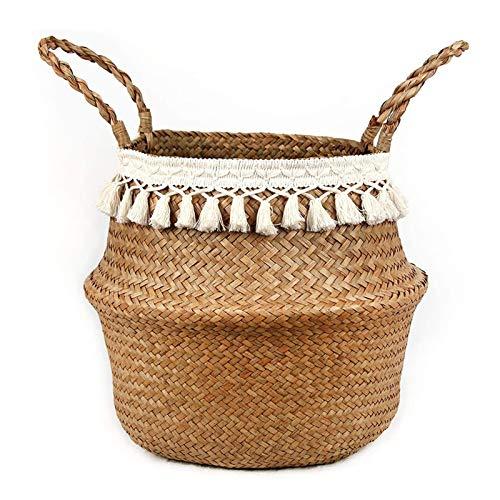 Foxorex Cesta para plantas de cuerda de algodón tejida para macetas de suelo de plantas, organizador de cesta de almacenamiento | decoración del hogar | cesta colgante | maceta de paja natural