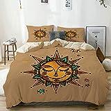 Juego de Funda nórdica Beige, Triángulos del Sol con Estampado de círculos, Juego de Cama Decorativo de 3 Piezas con 2 Fundas de Almohada Cuidado fácil Antialérgico Suave Suave