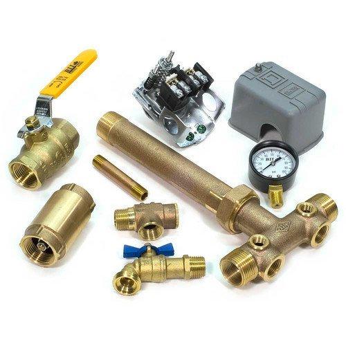 1 x 11 Tank Tee Kit with UNION + VALVES Installation Package for Water Well Pressure Tank with SQUARE D pressure switch NO LEAD (40/60 M4 Pressure Switch)