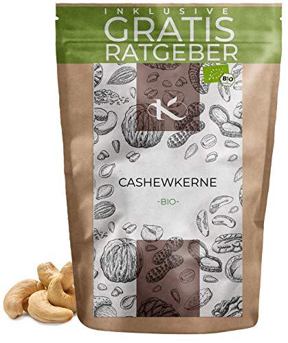 BIO Cashewkerne 500g | 100% Bio Cashew Kerne geschält aus kontrolliert biologischem Anbau inkl. gratis Ratgeber | hochwertige frische Cashewnüsse