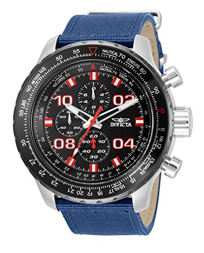 Invicta Men's Aviator Stainless Steel Quartz Watch with Nylon Strap, Blue, 24 (Model: 34024)