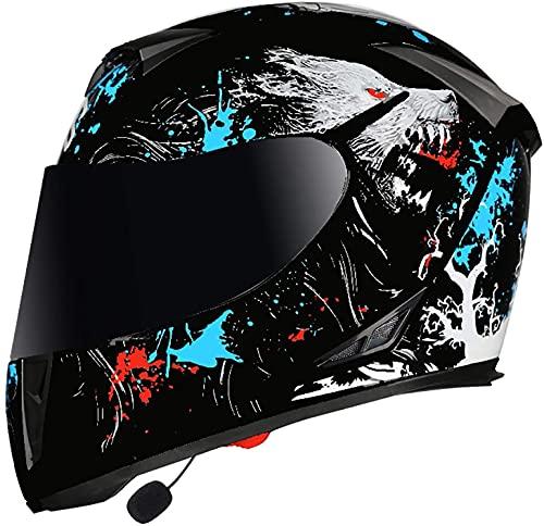 SJAPEX UNISEX Casco de motocicleta completo con auriculares Bluetooth, cascos de motocicleta con visera doble, casco de cara completa para helquero de scooter, fácil de limpiar, certificado de puntos