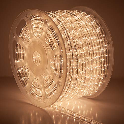 Wintergreen Lighting 150' Clear Incandescent Rope Light Kit – 120V, ½ Inch, 2-Wire, Cuttable, Accessories and Mounting Clip Included (150' Spool, Clear)