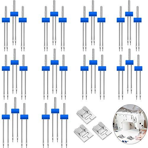 30 Piezas Agujas Dobles Aguja de Máquina de Estiramiento Pernos de Agujas Gemelas Tamaño en 2,0/90 3,0/90 4,0/90 y 3 Piezas Prensatelas de 9 Ranuras para Accesorios de Máquinas de Coser Domésticas
