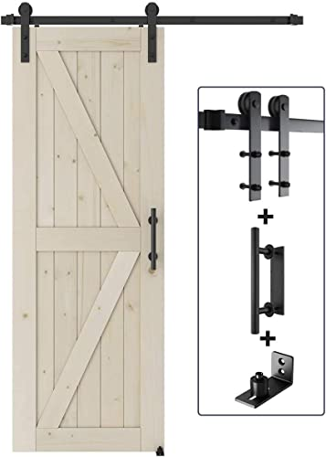 high quality SMARTSTANDARD online discount 30in x 84in Sliding Barn Door with 5ft Barn Door Hardware Kit & Handle, Pre-Drilled Ready to Assemble, DIY Unfinished Solid, K-Frame outlet online sale