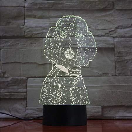 Perro mascota de pelo rizado acrílico multicolor lámpara de mesa 3D luz USBLED luz nocturna regalo para niños
