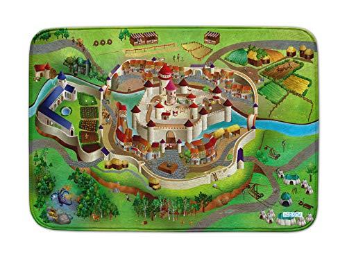 ACHOKA Tapis de sol anti dérapant Moyen age pour bébés et enfants – Filles et garçon- ultra doux 100x150cm -Tapis de jeux et de décoration