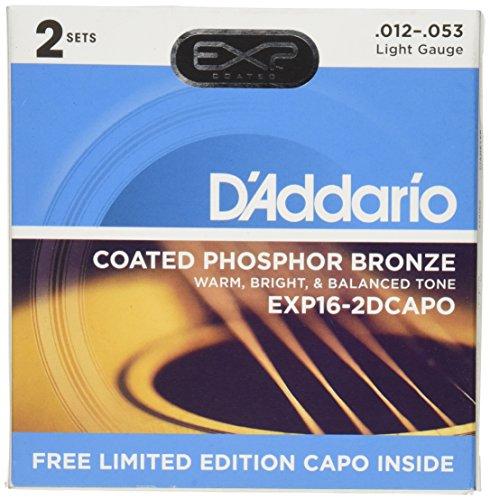 D'Addario EXP16-2DCAPO 12-53 licht gecoate akoestische gitaar snaren EXP16-2DCAPO