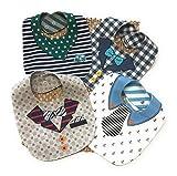 bavaglini neonato, LITTLE DETAIL, regalo neonato set pappa svezzamento regali neonato accessori neonato idee regalo neo mamma 100%Cotone, 4 Bavaglini Double Face 8 Fantasie.