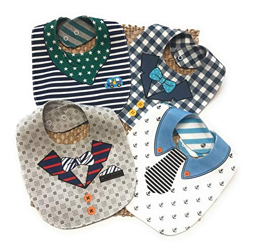 bavaglini neonato, P&G and co,regalo neonato set pappa svezzamento regali neonato accessori neonato idee regalo neo mamma 100%Cotone, 4 Bavaglini Double Face 8 Fantasie.
