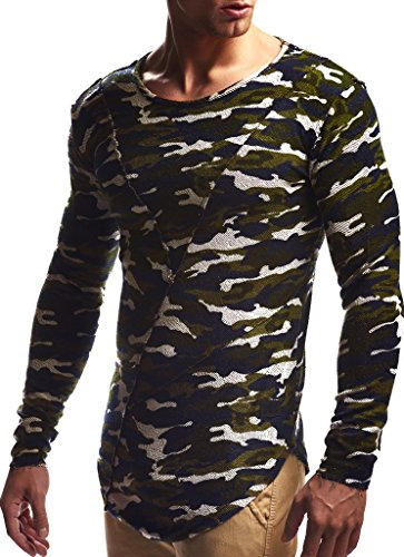Leif Nelson Herren Pullover Hoodie Kapuzenpullover Sweatjacke Longsleeve Sweatshirt Jacke Basic Rundhals Langarm Oversize Shirt Hoody Sweater LN6323; Größe M; Camouflage