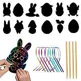 Gxhong Scratch Art Fogli da Disegno Arte del Graffio di Pasqua Set di Carta da Raschiare per Bambini, 24 Arcobaleno Grattare + 24 Corde + 24 Matite in Legno Fai da Te Decorazioni Feste
