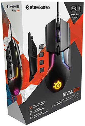 SteelSeries Rival 600 – Gaming-Maus – 12.000 CPI TrueMove3+ Dual Optical Sensor – 0,05 Lift-off-Distanz – Gewichtssystem – RGB-Beleuchtung - 11