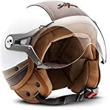 Soxon SP-325-Urban Demi-Jet - Casco de moto, ECE Certificado, Diseño de cuero, Blanco, M (57-58cm)