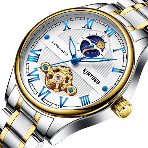 JTTM Hombres Automático Mecánico Relojes Acero Inoxidable Bracelet Analógico Fase Lunar Multifunción Luminosa Impermeable Negocio Relojes,Azul