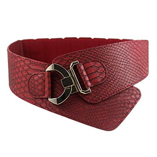 iShine Moda Donna Elastica Regolabile Cintura con Modello di Serpente (rosso)