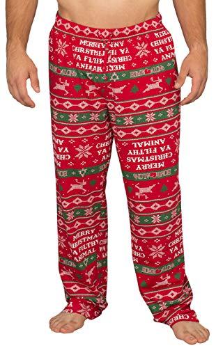 Home Alone Merry Christmas Ya Filthy Animal Lounge Pants (Adult Small) Red