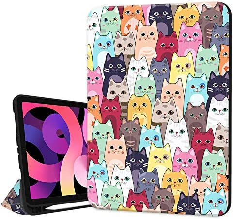 Hepix iPad 10 9 inch Air 4th Generation Case with Pencil Holder 2020 Cat Cartoon Stand Slim product image