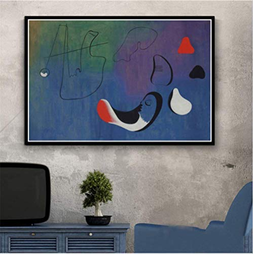 nobrand Kunst Gemälde Joan Miro Moderne Abstrakte Bild Retro Poster Wandkunst Leinwand Wandbilder Wohnzimmer Wohnkultur 50 * 70 cm Kein Rahmen